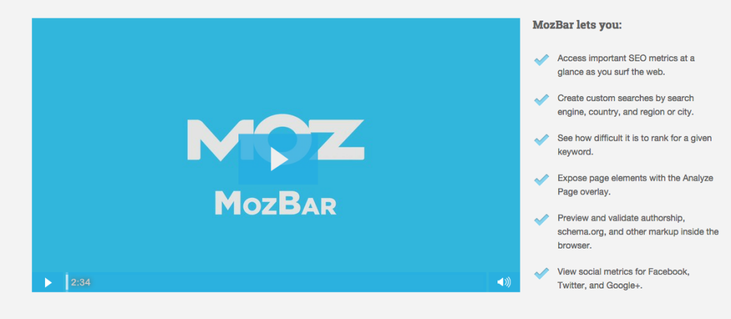 MozBar Screenshot